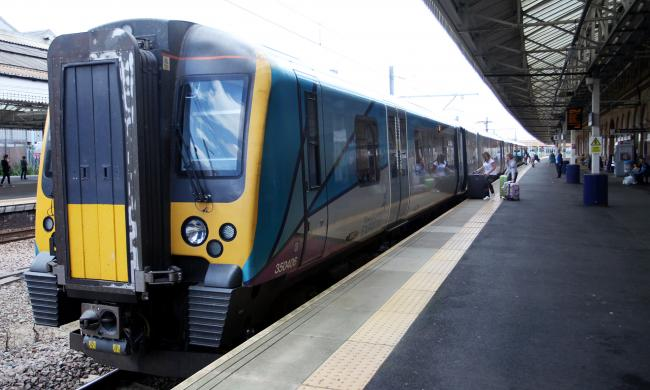 New train service to Scotland arrives at Bolton train station.