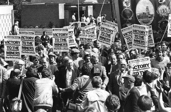 The Bolton News: BITTER DISPUTE: Arthur Scargill at the head of a march and rally in May, 1984