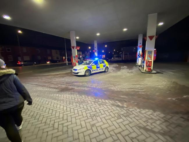 Armed robbery at the Esso Garage on Bolton Road. Photo by Jack Hart