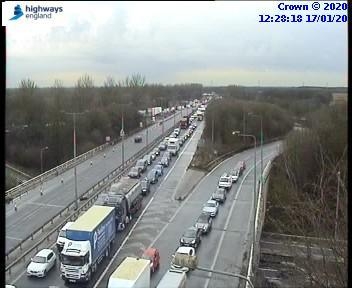 M602 traffic after crash. Photo from Highways England