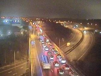 Traffic after a crash on the M61
