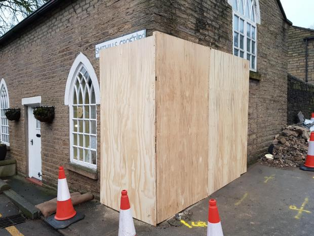The Bolton News: The listed home in Smithills Croft Road has been boarded up