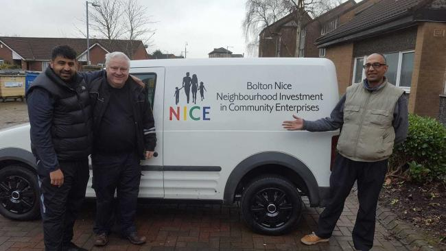 From left Community champion Muhammed Bari with Martin McCloughlin from Bolton NICE and a friend in front of the charities new van
