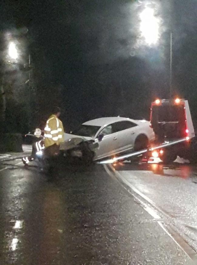 A car is recovered after a crash in Chorley Old Road, Horwich. Picture, Steph Jane