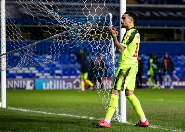 Kean Bryan acknowledges the away support at Coventry