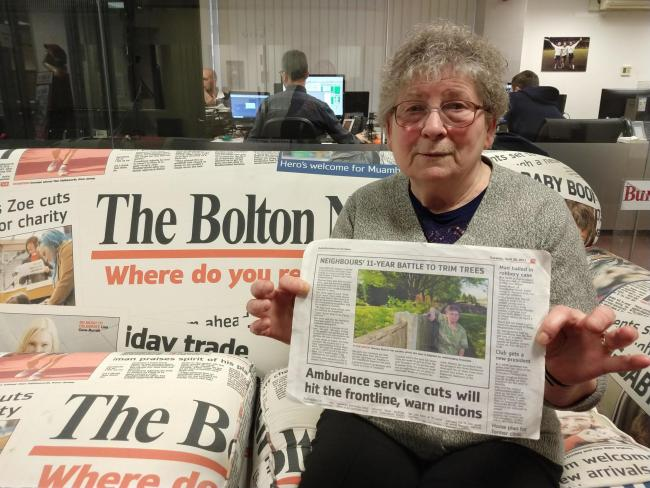 Theresa Stott who lives in Acre Field has won a battle with Bolton Council who have agreed to trim trees at a neighbouring park