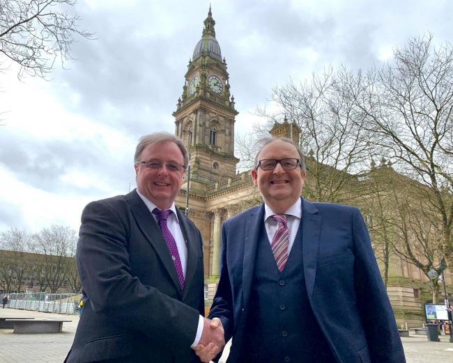 CHANGE: Cllr Mark Cunningham with Bolton Council leader David Greenhalgh outside Bolton Town Hall