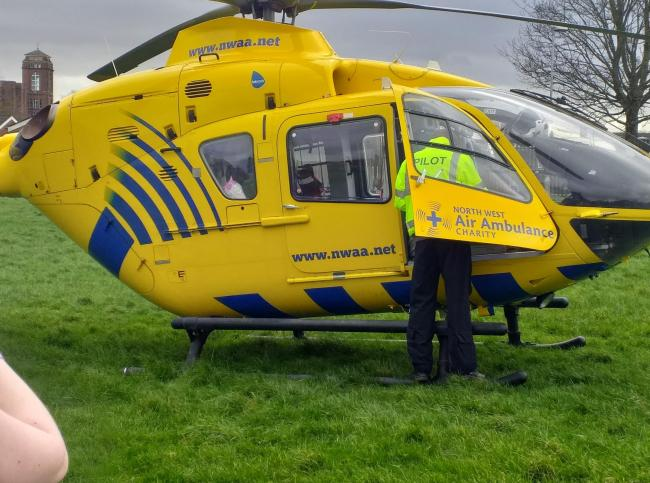 Air ambulance at Halliwell Health Centre