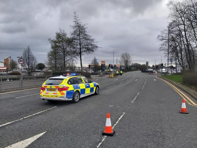 Police at the scene of crash in Kay Street (A666), Bolton