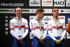 Jason Kenny, left, on the podium in Berlin
