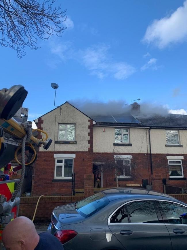 Fire crews on the scene of a fire at a dog breeder's home in Central Avenue, Farnworth