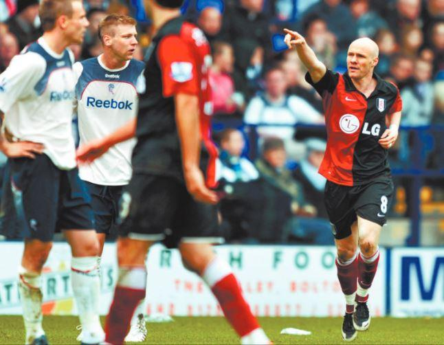 Fulham's Andy Johnson celebrates a goal for Fulham against Wanderers in 2009