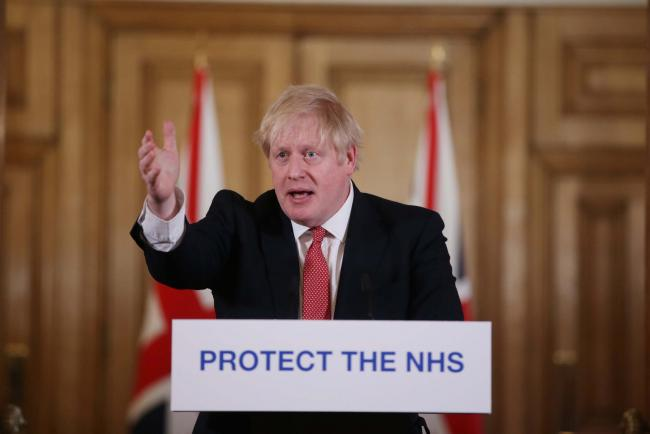 Prime Minister Boris Johnson speaks during a media briefing in Downing Street, London, on coronavirus (COVID-19). PA Photo. Picture date: Sunday March 22, 2020. See PA story HEALTH Coronavirus. Photo credit should read: Ian Vogler/Daily Mirror/PA Wire.