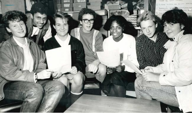 Sharples School set to test how enterprising its pupils were back in 1986 by setting up a series of companies within the school. Here finance representatives of the mini enterprise companies compare notes (left top right) Kerry Chadwick, Ashif Ismaic, Vic