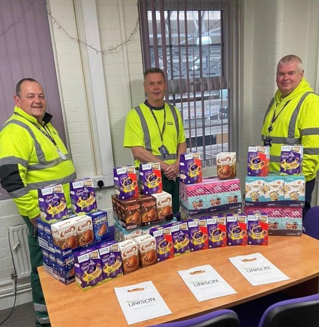 GENEROUS: Unison Bolton members the eggs they have donated to Bolton NICE