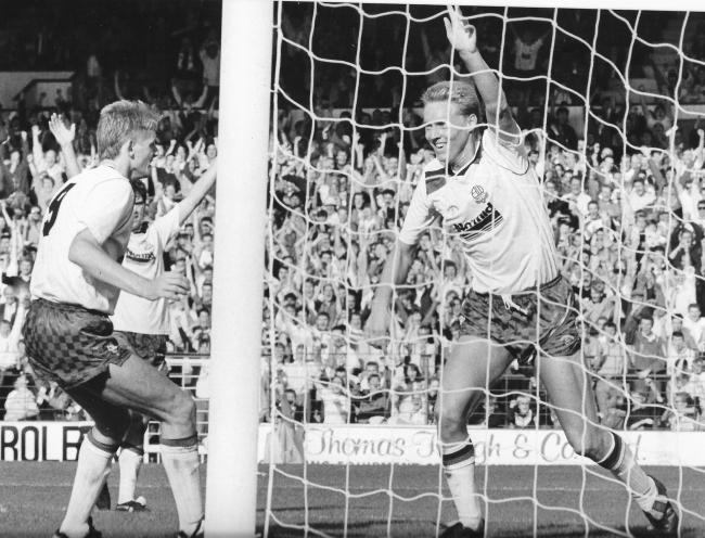 Tony Philliskirk celebrates a goal against Orient with David Reeves