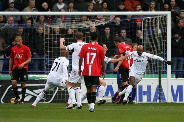The Bolton News: Nicolas Anelka scores the winning goal for Bolton against Manchester United in 2007