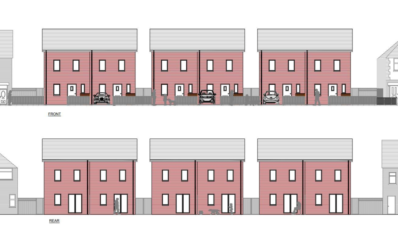 Six new semis on undeveloped grassy land would be let as 'affordable rent' homes