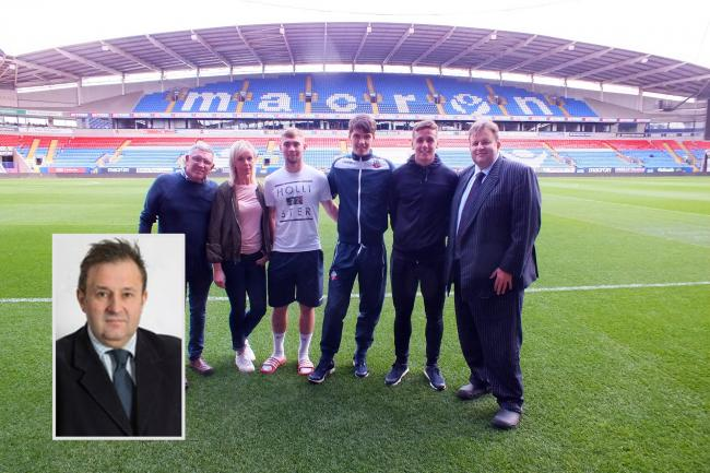 Daniel Izza, inset, and far right with other members of the BWFCST and Bolton players Connor Hall, Alex Perry and Jeff King in 2017