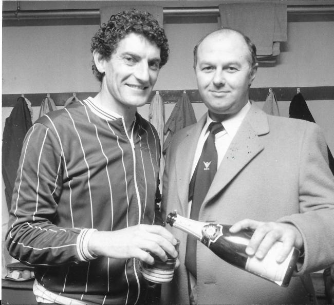 Martin Dobson and Terry Robinson after promotion to Division Three in 1985