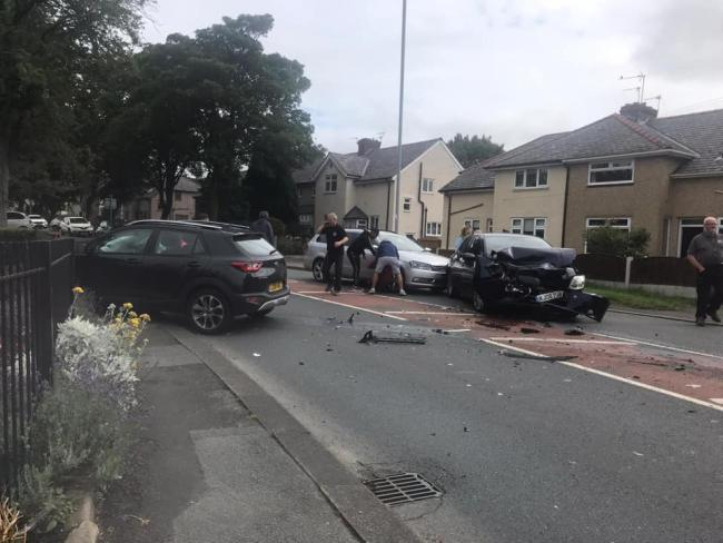 The crash at Wigan Road in Westhoughton, near to Southfield Drive. Photo by Scarlett Sixsmith