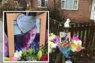 Joss McCaughtrie and tributes left at Tennyson Avenue