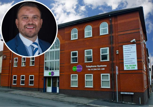 DEVELOPMENT: Christian Bleakley, Firstcom CEO and the headquarters in Bolton