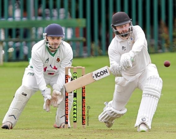 ON THE ATTACK: Farnworth Social Circle's Jamie Bohannon, who made 40, is watched by Walkden wicketkeeper Tiaman Hamill. Pictures: Harry McGuire