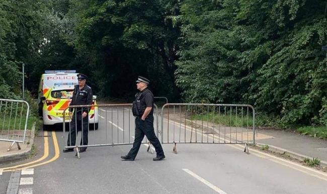 Police close the car park at Sale Water Park following rumours of plans for a large event. Photo courtesy of GMP