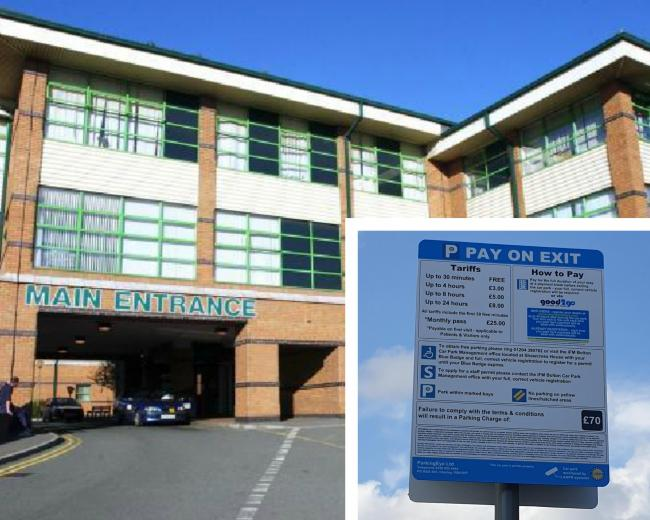 Royal Bolton Hospital. Inset: sign indicating the new parking charges
