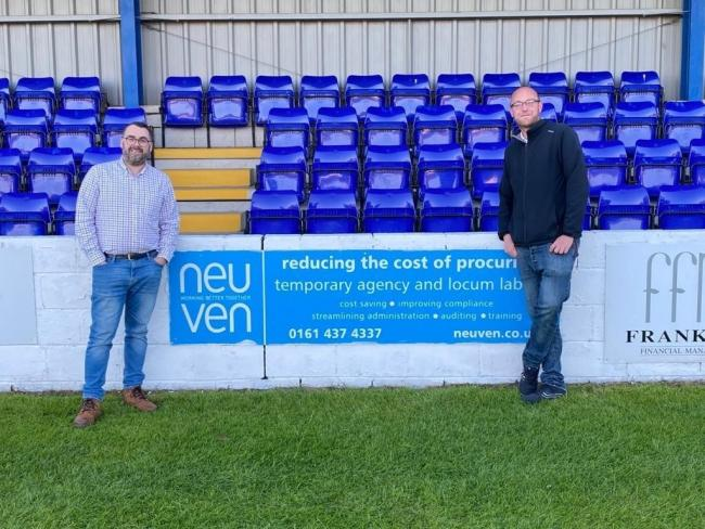 Radcliffe FC chairman Paul Hilton and Bury AFC chairman Chris Murray