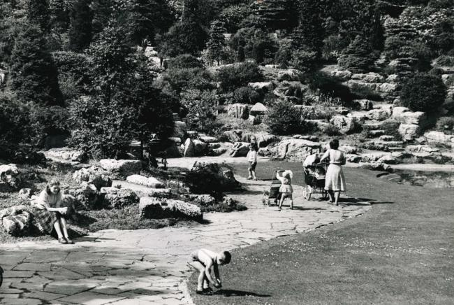 The rock garden at Moss Bank Park in the Sixties