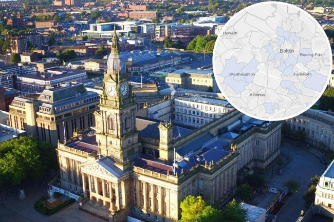 FIGURES: New cases of coronavirus shown by area pictured in front of Bolton town hall.
