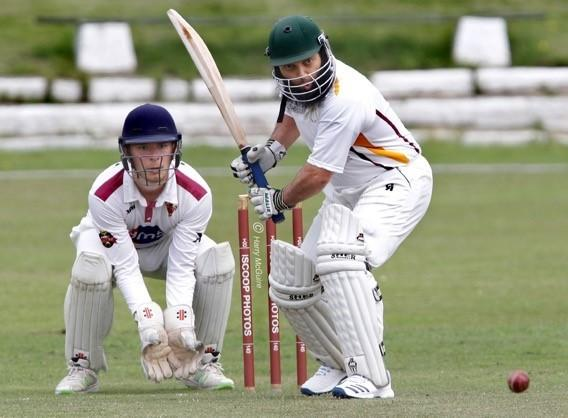 Tonge batsman Shehzad Arif and Eagley wicketkeeper Louis Seigne. Pictures: Harry McGuire
