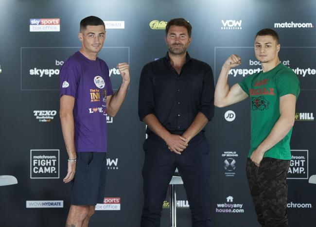 NEARLY TIME: Jack Cullen, left, and Zak Chelli with promoter Eddie Hearn at yesterday's press conference. Picture: Mark Robinson/Matchroom Boxing