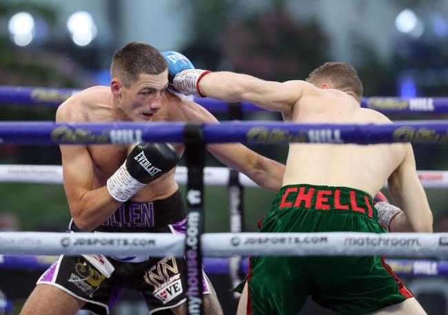 Jack Cullen and Zak Chelli went toe-to-toe. Picture: Mark Robinson/Matchroom Boxing