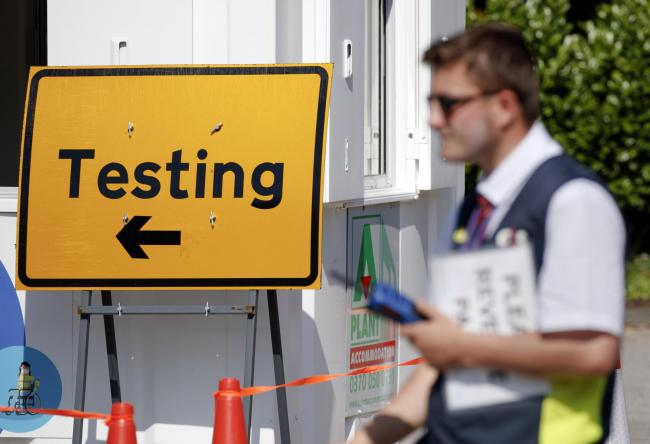 A Covid-19 testing centre at Bradford University in West Yorkshire, one of the areas where new measures have been implemented to prevent the spread of coronavirus. Stricter rules have been introduced for people in Greater Manchester, parts of East Lancash