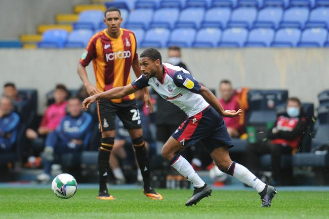 Brandon Comley in action for Wanderers against Bradford City