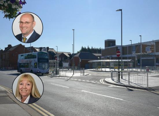 Farnworth bus station with councillors Paul Heslop and Julie Pattison