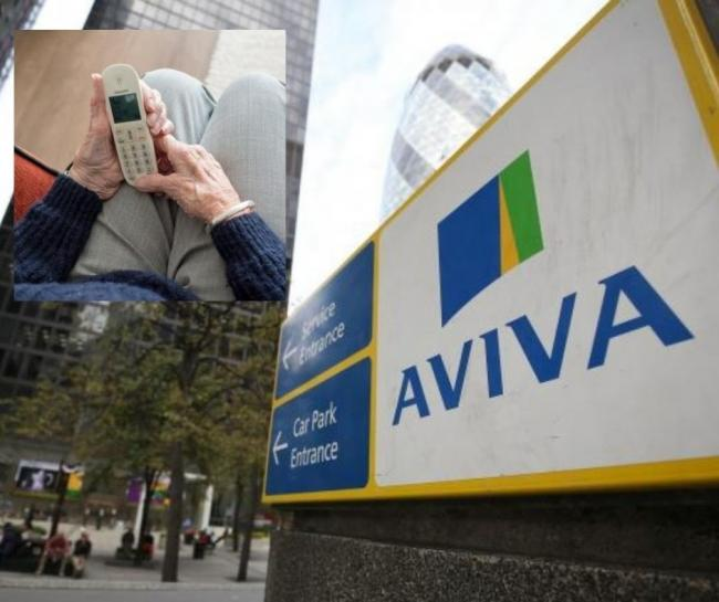 Outside an Aviva building and an elderly man holding a phone (inset)