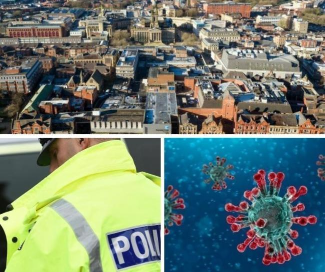 Clockwise from top; An aerial view of Bolton, a close-up of coronavirus substances and a police officer