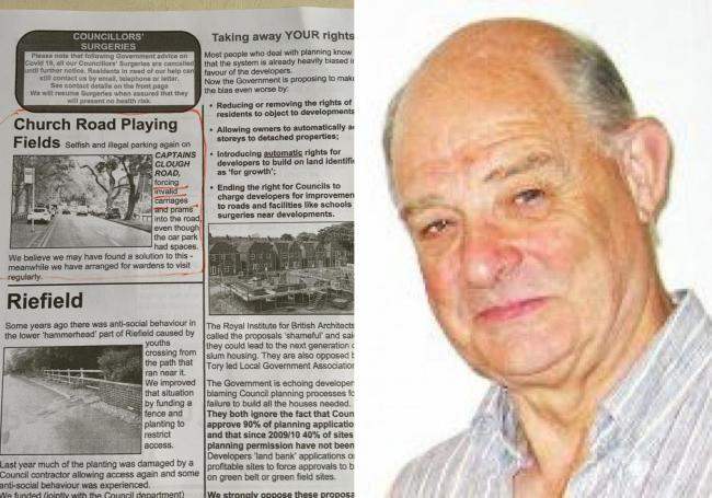 The 'Smithills Focus' newsletter and, right, Councillor Roger Hayes