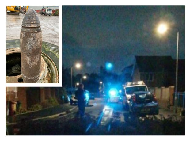 Bomb squad called and residents evacuated as 'unexploded munition' found in skip