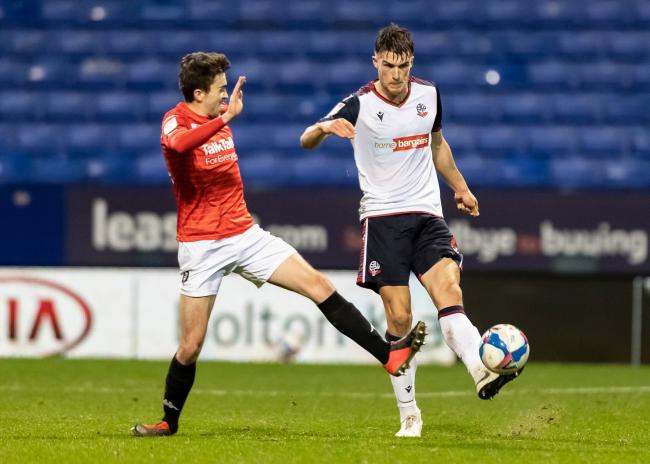 Ryan Delaney in action for Wanderers against Salford City