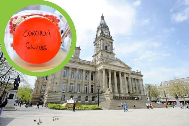 Bolton Town Hall and a coronavirus sample (inset)