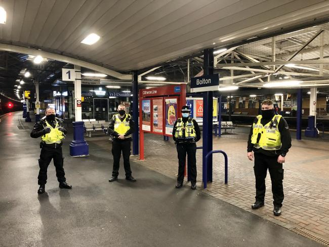 PATROL: BTP and Travel Safe officers at Bolton