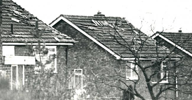 Homes in Glencoe Drive, Breightmet, damaged by a storm in 1990