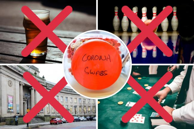 Everything you CAN'T do in Bolton under Tier 3 restrictions. Picture includes a photo of a pint, a bowling alley, a poker table, and Bolton Library and Museum all with red crosses over the top. A picture of a coronavirus test in inset.