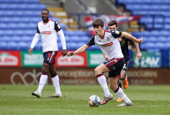 George Thomason in action against Stevenage