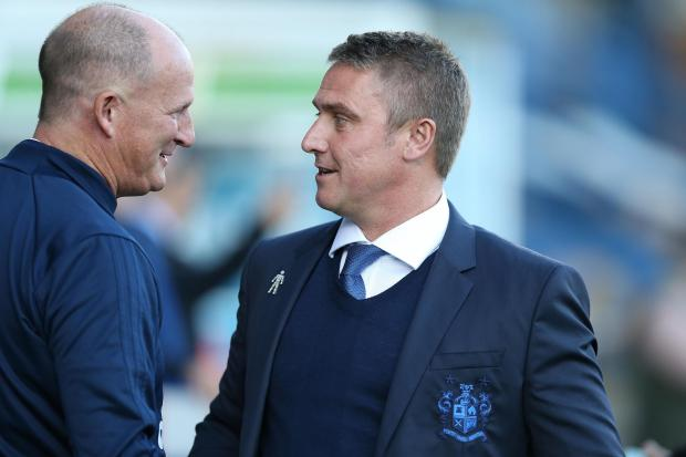 Lee Clark as Bury manager with then Sunderland boss Simon Grayson in August 2017